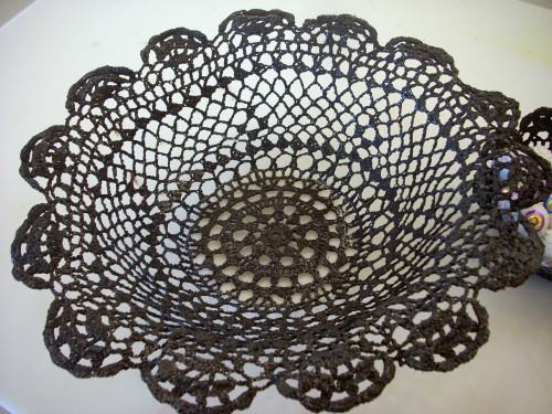 Halloween Crafts - Make a Spider Web Bowl From a Doily