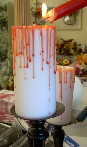 Halloween Crafts - How to Make a Bloody Pillar Candle