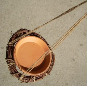 Clay Pot Saucer and Grapevine Wreath Bird Feeder
