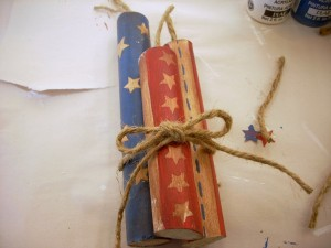 4th of July Craft - Hand Painted Wood Fireworks