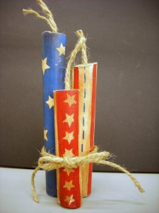 4th Of July Craft Hand Painted Wood Fireworks Vicki O Dell