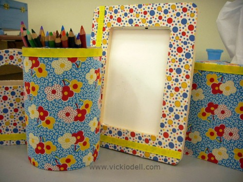 Colorful Desk Organizers with Mod Podge and Fabric