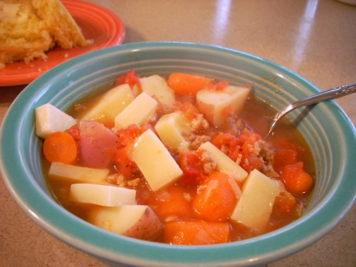 Ground Turkey Vegetable Soup and Cheese