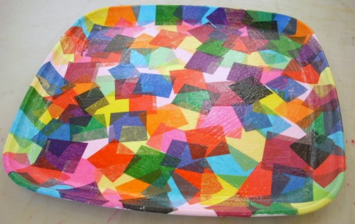 Confetti Tray with Mod Podge and Tissue Paper