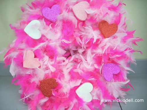 Valentine's Day Wreath with Feather Boas and Chunky Glittered Hearts