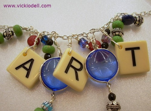 Mixed Media Game Piece Necklace