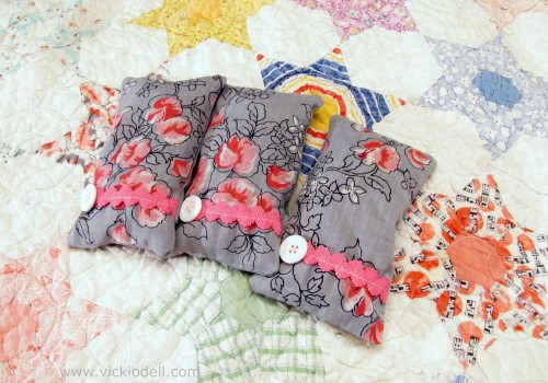 Vintage hanky sachets on antique quilt for etsy photo