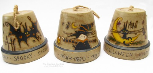 Halloween Crafts: A Trio of Clay Pot Bells for Halloween from @creativegoddess