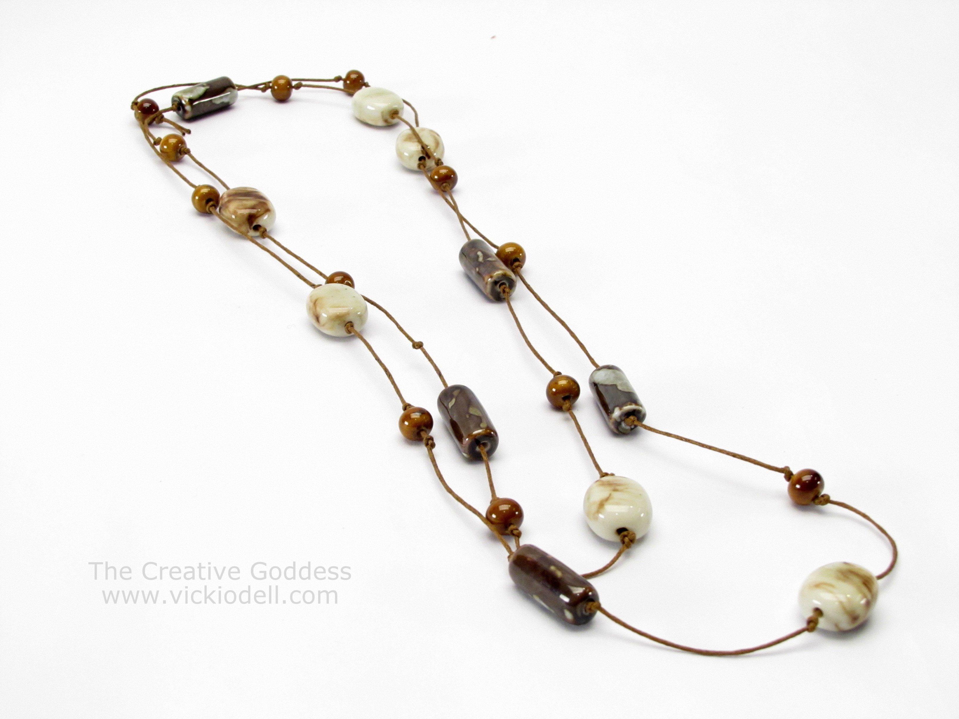 pearl necklace pearls leather on product wrapped knot keshi wire