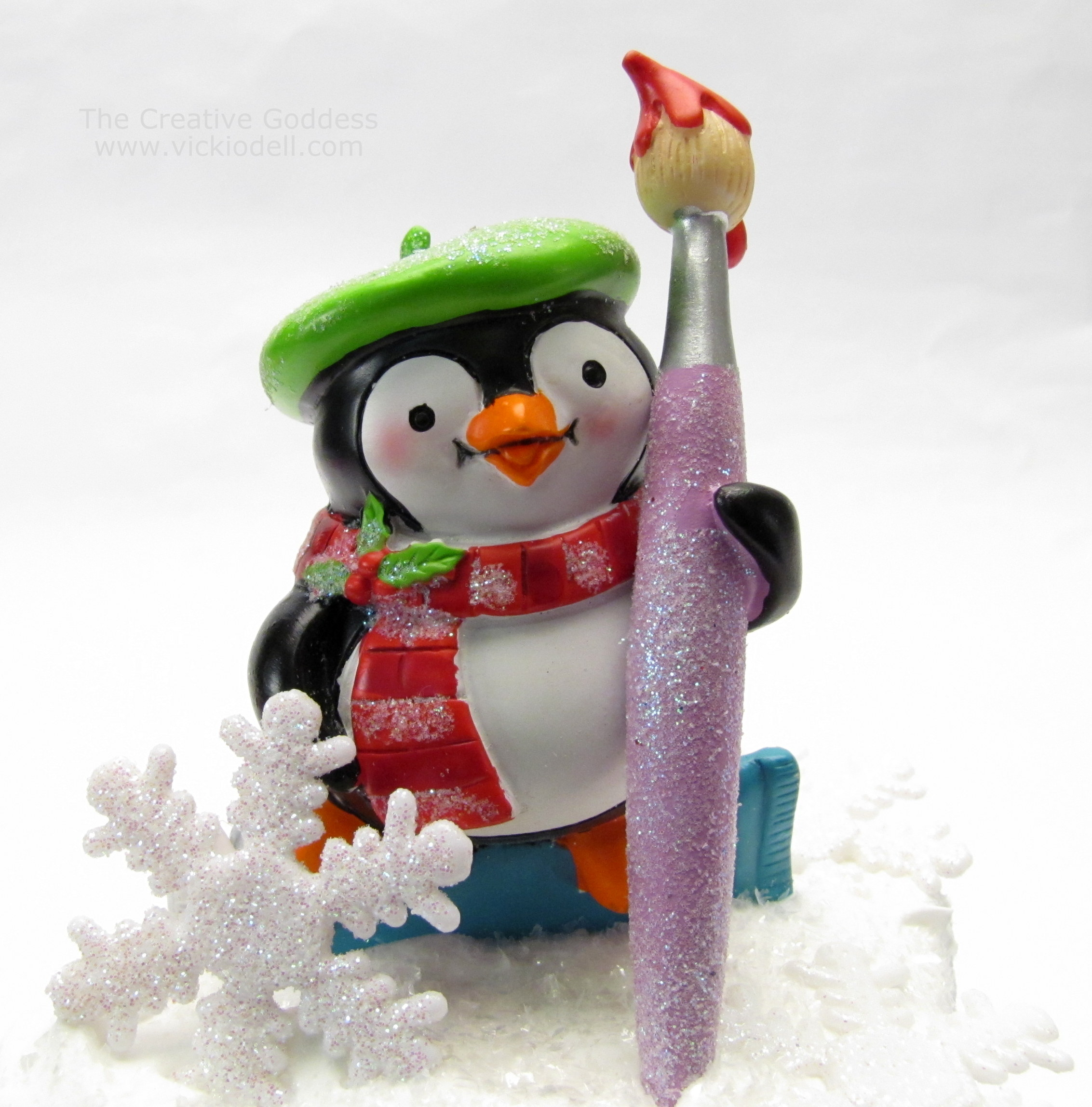 penguin christmas ornament smoothfoam mixed media winter decoration