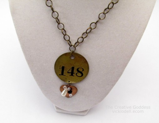 Brass Tag Necklace Made with New and Vintage Items
