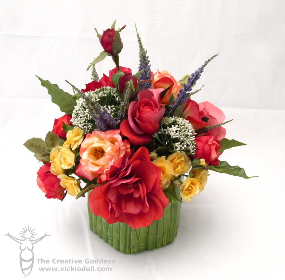 A mini lesson in floral design with a silk rose flower for Flower arrangements with roses